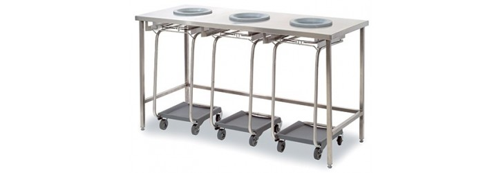 Standard waste collect + sorting tables - 2 or 3 waste-chute holes - Without panel - Lowered height