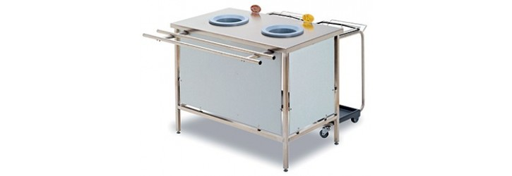Standard waste collect + sorting tables - 2 or 3 waste-chute holes - With panels - Lowered height