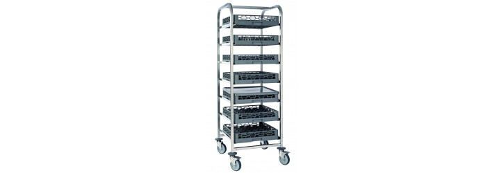 Trolleys for dishwasher baskets