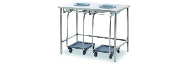 Standard waste collect + sorting tables - 2 waste-chute holes - Without panel - Standard height