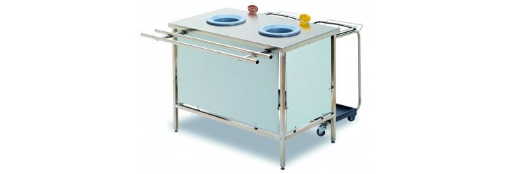 Standard waste collect + sorting tables - 2 or 3 waste-chute holes - with panels - Standard height