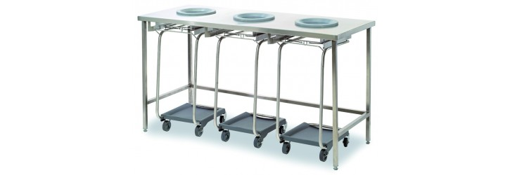 Standard waste collect + sorting tables - 3 waste-chute holes - Without panel - Standard height